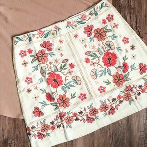 Dresses & Skirts - Embroidered High Waist Skirt